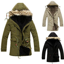 Mens Winter Warm Thicken Fur Hooded Coat Outerwear Jacket Parka Windbreaker Tops