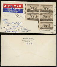 NJ 1956 airmail label tied cover Union to Germany 3c antelope block+single