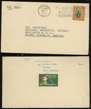 NEW ZEALAND 1962 airmail cover telegram slogan to US Christmas tb seal