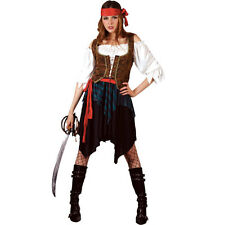 Ladies Caribbean Pirate Lady (Deluxe) Costume for Fancy Dress Womens