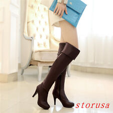 Stiletto Heel Women Lady Over Knee High Boots Shoes Strench Platform Side Zipper