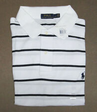 Ralph Lauren Mens White Navy Pima Mesh Pony Logo Short Sleeve Polo Shirt 2XLT