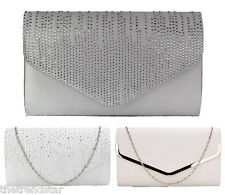 Women Ivory Clutch Handbag Wedding Prom Party Evening Ladies  Crystal Purse New