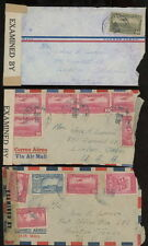 COSTA RICA 1940s  censor covers (4) US airmail