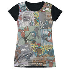 Rocky & Bullwinkle Collage Juniors Sublimation Shirt