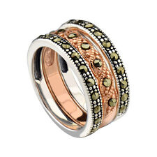 Rose Gold Plated Sterling Silver Two Tone Marcasite 3 Stackable Rings