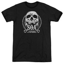 Sons Of Anarchy Soa Club Mens Adult Heather Ringer Shirt