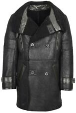 Mens Real Sheepskin Coat Black Double Breasted LONG Reefer Fur Shearling JACKET