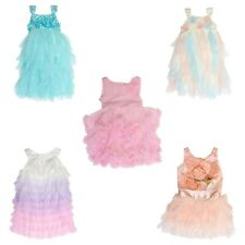 Biscotti Sleeveless Dress for Girls - Layered Ruffles, Ombre, Tull, Floral, Rose