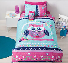 Pretty Owl Girls Applique Reversible Quilt Doona Cover Set - SINGLE DOUBLE