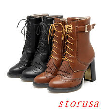 Vintage Women Lady High Chunky Heel Ankle Boots Lace Up Carved Brogue Shoes Size