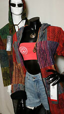 Hippy Boho Multi Patchwork Nepal Cotton Fleece Lined Jacket TOP Vintage Style
