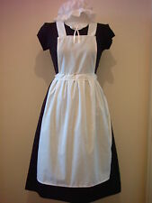 LADIES GIRLS VICTORIAN TUDOR EDWARDIAN APRON MOP CAP fancy dress pinafore pinny