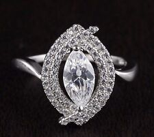 Womens Solid 925 Sterling Silver CZ Marquise Solitaire Micro Pave Ring 17mm Wide