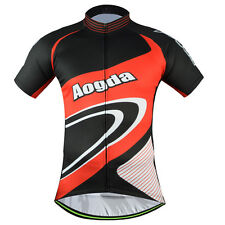 Aogda Men's Cycling Jersey Tops Bike Cycle Short Sleeve Jersey Shirt Black-Red