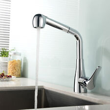 Pull Out Sprayer Single Handle Hole Kitchen Sink Vanity Basin Mixer Taps Faucet
