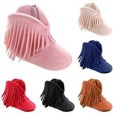Baby Girl Boy Infant Kids Boots Tassel Soft Sole PU Leather Shoes Moccasin 0-18M