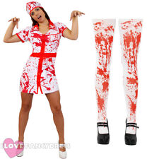 BLOODY NURSE HALLOWEEN FANCY DRESS COSTUME PLUS HAT AND BLOOD STAINED TIGHTS