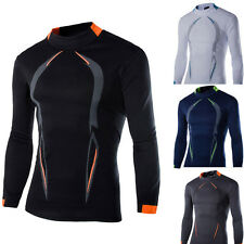 Mens Slim Fit Cotton Shirts Quick-drying Long Sleeve Casual T-Shirt Tee Tops