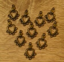Jewellery making heart charm connectors x 10 antique vintage heart bronze