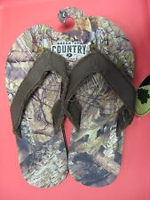 Men's Mossy Oak Camo Break-Up Cloth Strap Flip Flops / Choose Size / SML MED LG
