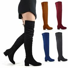 Womens Over The Knee High Block Low Heel Ladies Tall Cut Out Thigh High Boots