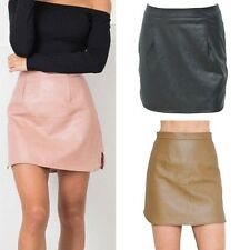 Women's Autumn Slim PU Leather Skirt Bodycon High Waist Skirt Short Skirt S-XL