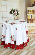 """Halloween Embroidered Table Runner, Christmas Holiday Lace Table Cloths 72""""Round"""
