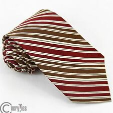 YVES SAINT LAURENT Authentic Necktie Red White Striped 100% Silk Made Italy tie