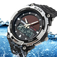 MEN SPORTS SOLAR POWER DUAL TIME WATER RESISTANT ELECTRONIC WRIST WATCH RETRO