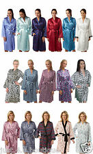 Ladies Satin Dressing Gown Wrap Bath Robe Kimono Size 8 10 12 14 16 18 20 22