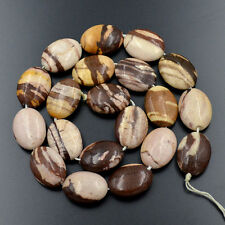 15x20mm Natural Brown Striped Zebra Gemstone Flat Oval Spacer Loose Beads 15.5""