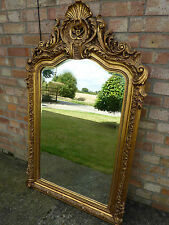 LARGE GILDED FRENCH ROCOCO STYLE MIRROR GOLD BAROQUE OVERMANTLE WALL HANGING