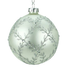Silver Glass Christmas Tree Decoration with Silver Glitter Trellis (8cm)