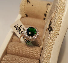 Beautiful AAA Cr Emerald and Diamond Ring in Rhodium overlay Sterling Silver