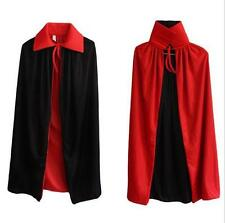 Costume Red and Black Double-faced Gothic Death Collar Cape Long Cloak