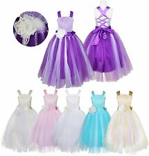Flower Kids Girls Dress Birthday Party Wedding Bridesmaid Gown Formal Dresses