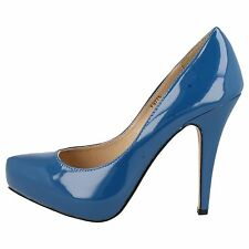 Anne Michelle Ladies F9775 Teal Blue Patent High Heel Court Shoe UK 3 x 8 (R2A)