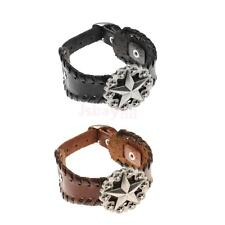 Fashion Braided Men Wide Leather Wristband Pentagrams Hand Chain Bangle Bracelet