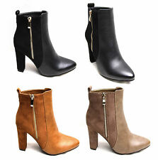 Women Ladies Ankle Boots Shoe Faux Leather Suede Gold Zip Pointy Block High Heel