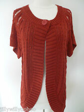 LADIES M&S SIZE 12 RED STRETCH SHORT SLEEVED CARDIGAN WAISTCOAT TAGS FREE POST