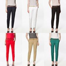 Women's OL Skinny Long Pants Casual Slim Belt Fitted Comfy Pencil Pants Trousers