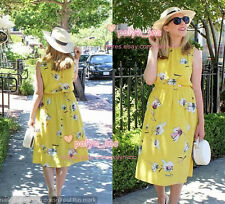NWT ZARA SS16 YELLOW FLOWING FLORAL PRINT MIDI DRESS OPEN BACK BOW 2945/399_S M