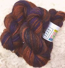 hand dyed Wool 100 yds blu faced leicester rust purples sport wt