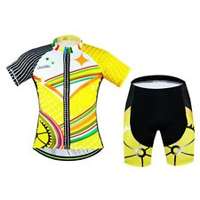 Aogda Yellow Cycling Kit Mens Bike Clothing Cycle Jersey Padded (Bib) Shorts Set