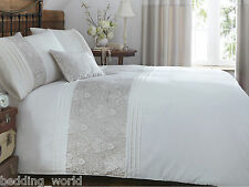 KINGSLEY GOLD DUVET QUILT COVER SET EMBROIDERED FLORAL PIN TUCK TAUPE GREY CREAM