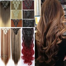 Real Classy 8Pieces Clip In Hair Extensions Long Straight Wavy As Human Hair TFF