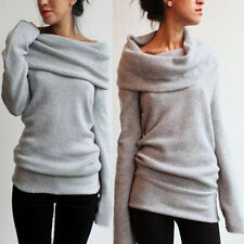 Womens Off Shoulder Turtle Neck Knitted Hoodie Jumper Sweatershirt Blouse Tops