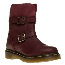 New Womens Dr. Martens Red Maroon Kristy Leather Boots Ankle Buckle Pull On
