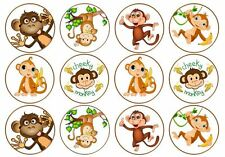 24 Cheeky Monkey Assorted Edible Cake Toppers Icing or Wafer